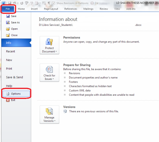 Accessing Word Options Word 2010 and 2013