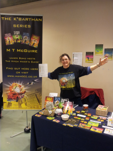 Stall with author in situ, yes, I buffed my nose with Mr Sheen.
