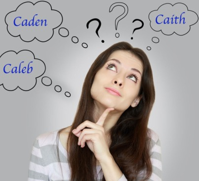 Young woman looking up and thinking with thought bubbles above her head. Bubbles contain character names that start with the letter C