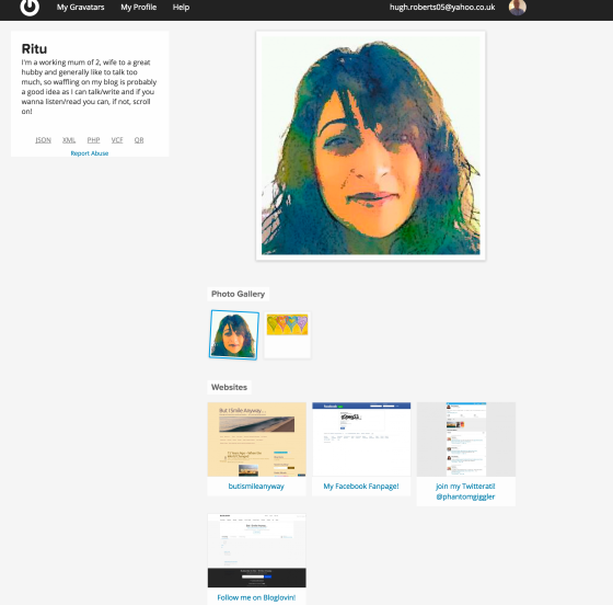 Example of a Gravatar page