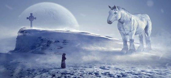 horse, cross near cliff, man in robes