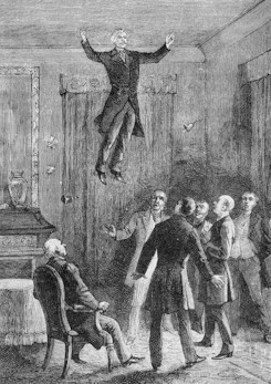 Illustration of Daniel Douglas Home performing levitation