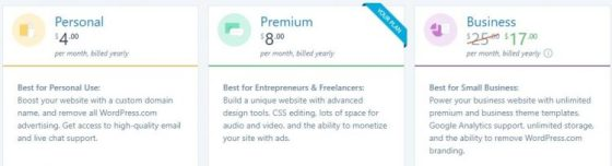 Price and info on WordPress Blog plans